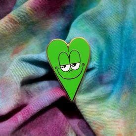 Smiling Heart Pin - Green