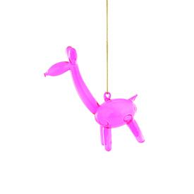 Balloon Giraffe Glass Ornament PINK