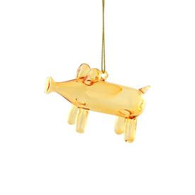 Balloon Pig Glass Ornament