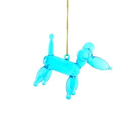 Balloon Poodle Glass Ornament BLUE