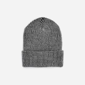 Simple Ribbed Hat - Black and White BLACK_WHITE