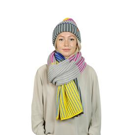 Ribbed Striped Scarf - Magenta Yellow