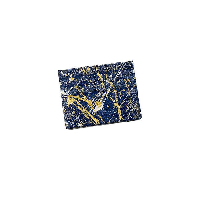 Hand- Painted Cardholder - Navy Gold