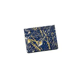 Hand-Painted Cardholder - Navy Gold