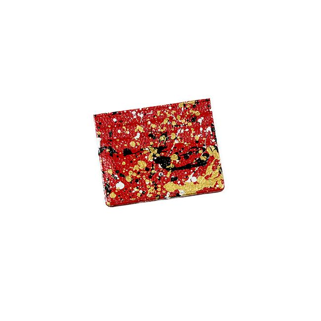 Hand- Painted Cardholder - Red Gold