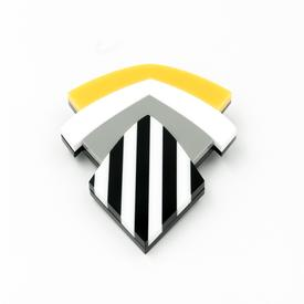 Striped Shield Pin - Yellow
