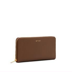 Vegan Zip Wallet - Brick Brown