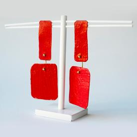 Rectangle Drop Post Earrings - Red