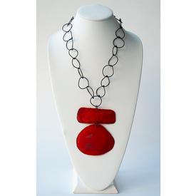 Oval Bar Necklace - Red