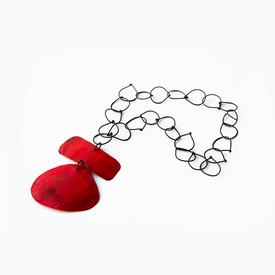 Oval Bar Necklace - Red RED