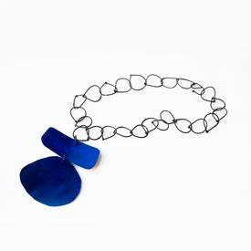 Oval Bar Necklace - Blue BLUE