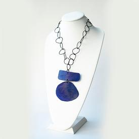 Oval Bar Necklace - Blue