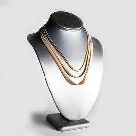 Three Strand Necklace - Silver Gold