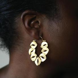 Organic Sculptured Reticulated Gold Hoop Earrings