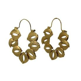Organic Sculptured Reticulated Gold Hoop Earrings GOLD_PLATE