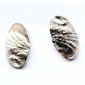 Reticulated Oval Post Earrings SILVER