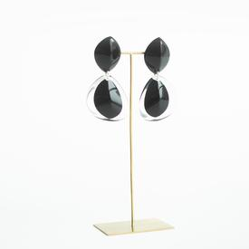 Oval Drop Post Earrings - Transparent Black