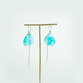 Transparent Turquoise Feather Earrings