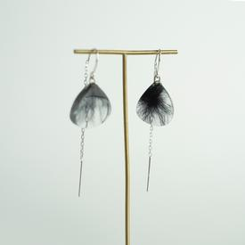 Transparent Black Feather Earrings