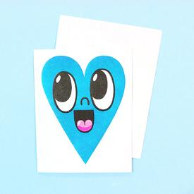 Smiling Heart Greeting Card - Blue