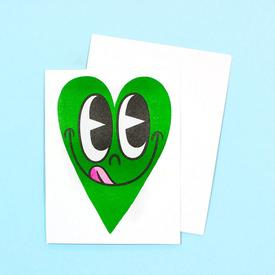 Smiling Heart Greeting Card - Green