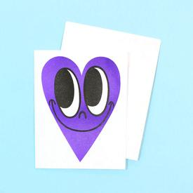 Smiling Heart Greeting Card - Purple