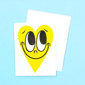 Smiling Heart Greeting Card - Yellow