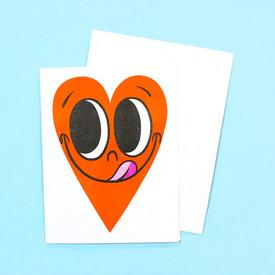 Smiling Heart Greeting Card - Orange