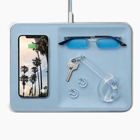 Wireless Charging Station and accessory organizer - Pacific Blue