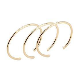 Crescent Bangle Bracelets Set of 3 BRASS