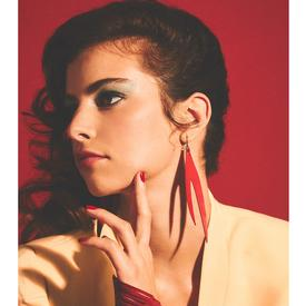 Leather Flame Earrings - Red