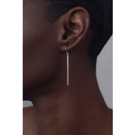 Bar Drop Earrings - Silver - Short