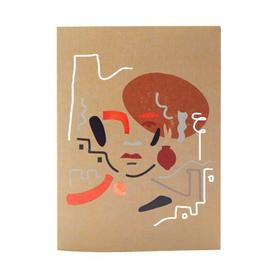 Abstract Face Greeting Card BROWN