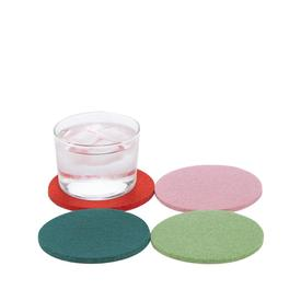 Bierfilzl Round Wool Coasters Set of 4 - Happy