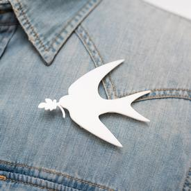 Peace Dove Pin WHITE