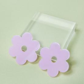 Large Daisy Earrings - Lilac