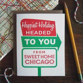 Sweet Home Chicago Roadside Holiday Card Sign Box Set of 6