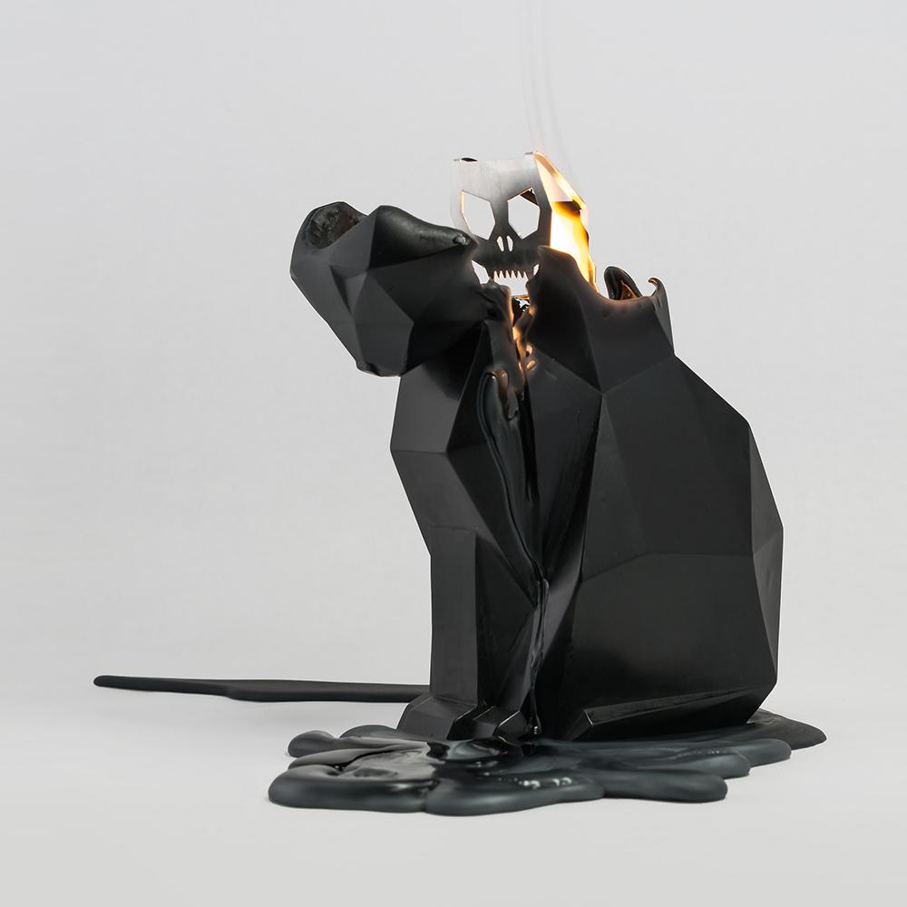 Kisa Black Cat Skeletal Candle