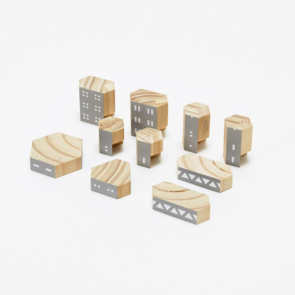 Blockitecture Brutalism Wood Toy Set