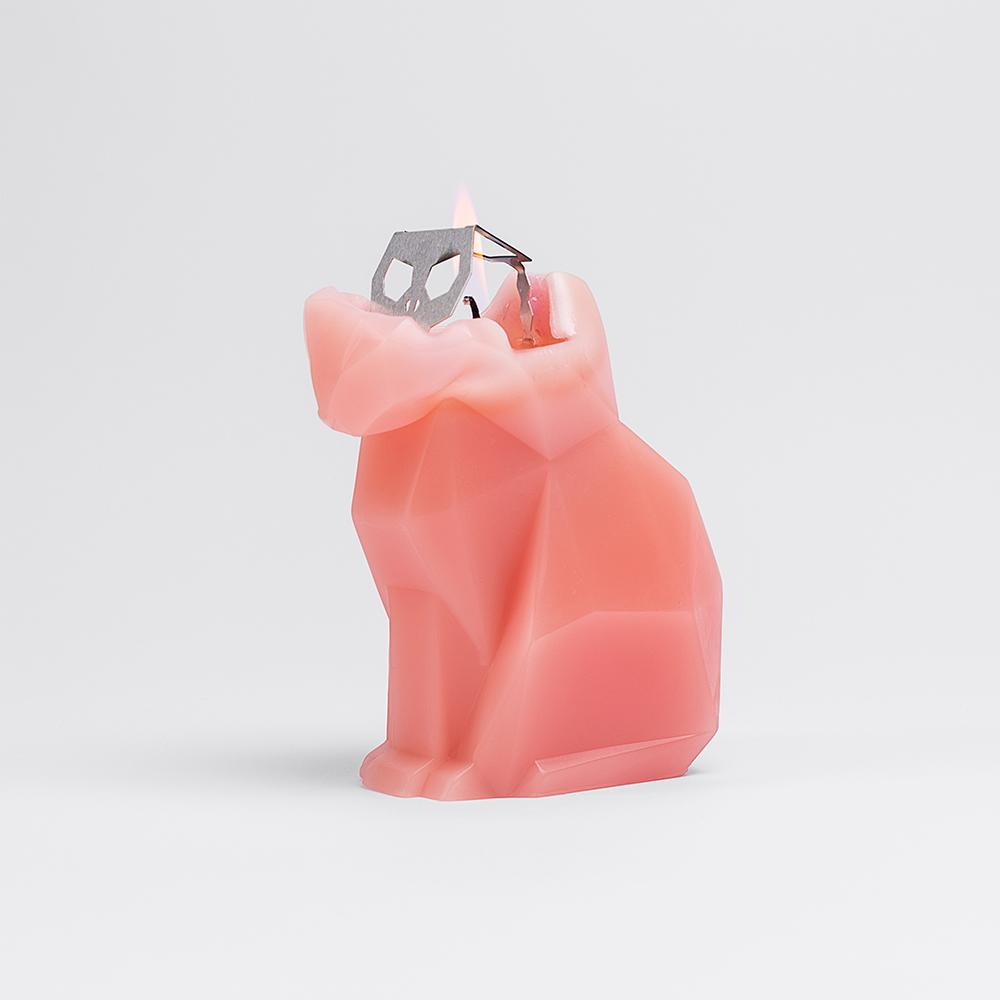 Kisa The Cat Shaped Candle - Coral