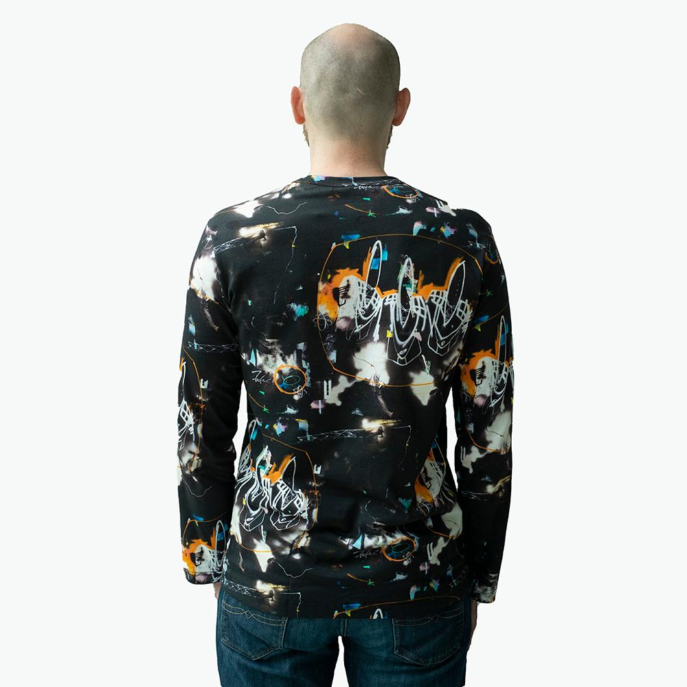 Comme Des Garcons Shirt X Futura - Long Sleeve All Over Print - Black