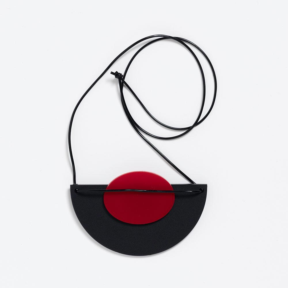 Takara Black Half Circle With Red Oval Necklace