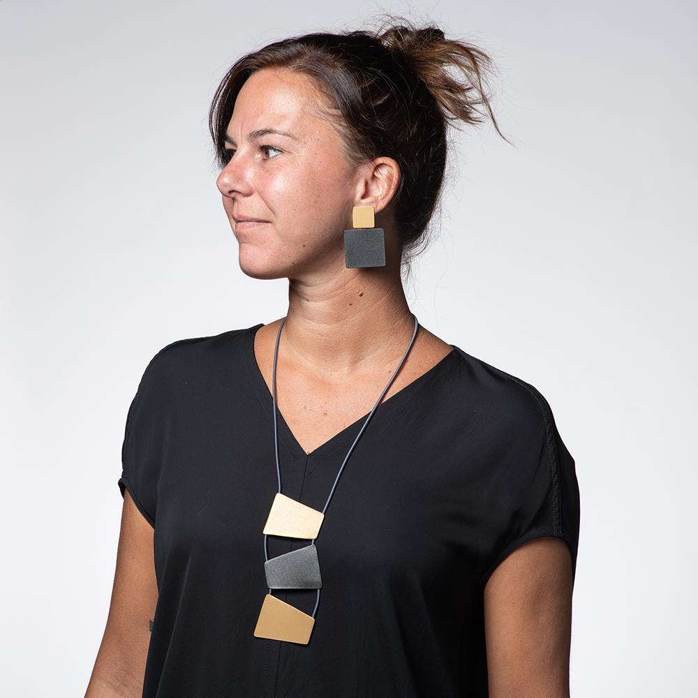 Stacked Trapezoid Necklace - Gold, Black, Grey