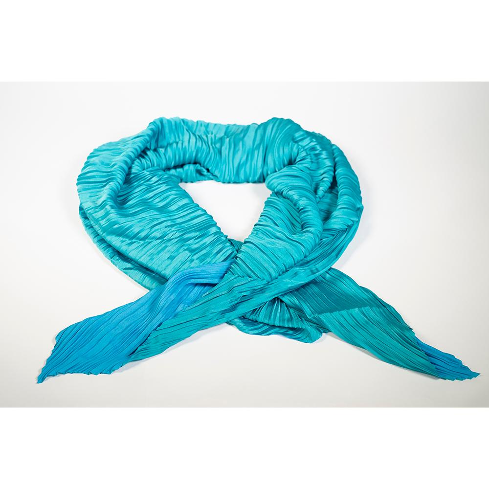 Handmade Pleated Scarf - Blue