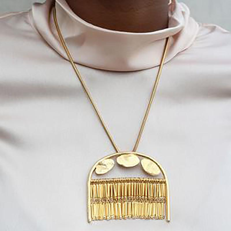 Gold Fringe Pendant Necklace