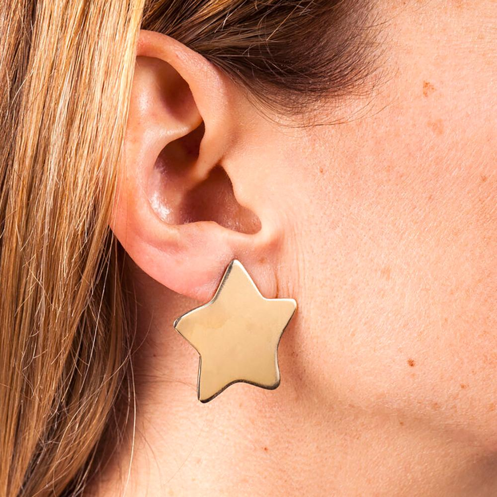 Brass Star Earrings - Medium