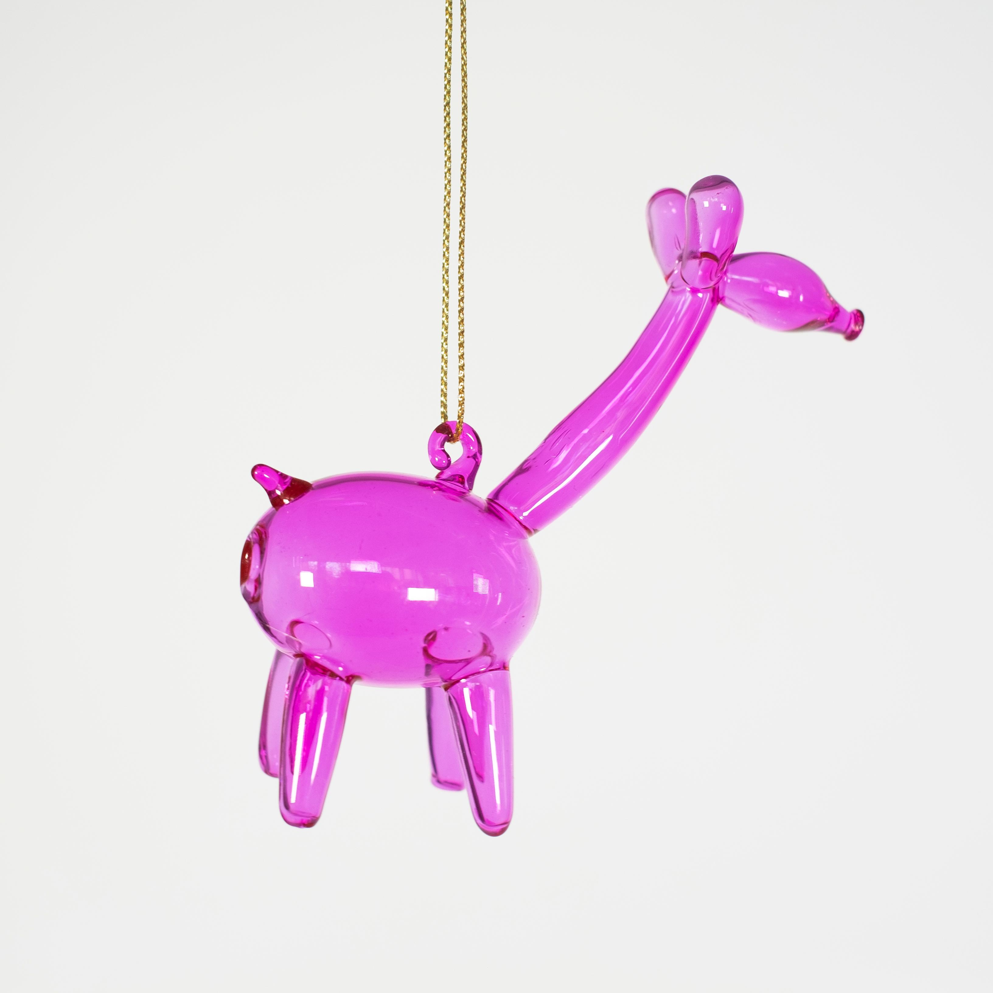 Balloon Giraffe Glass Ornament