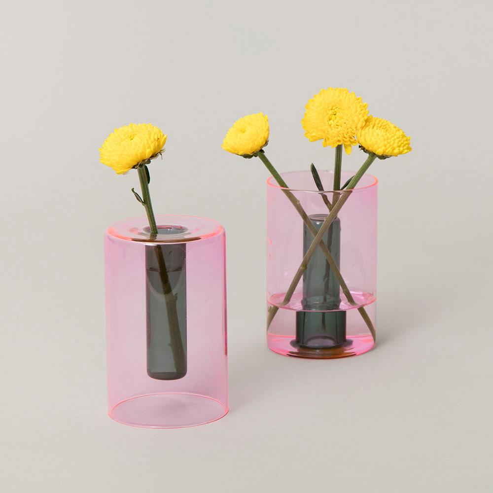 Mini Reversible Glass Vase - Pink/Green