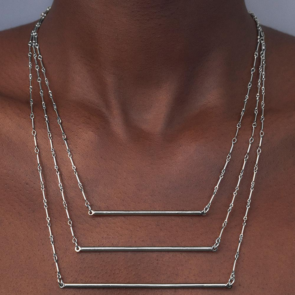 Bar Necklace - Silver - Short
