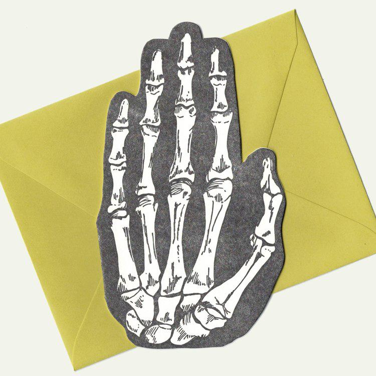 Die Cut Skeleton Hand Card